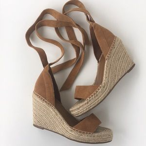 Marc Fisher Ankle Tie Espadrille Wedges